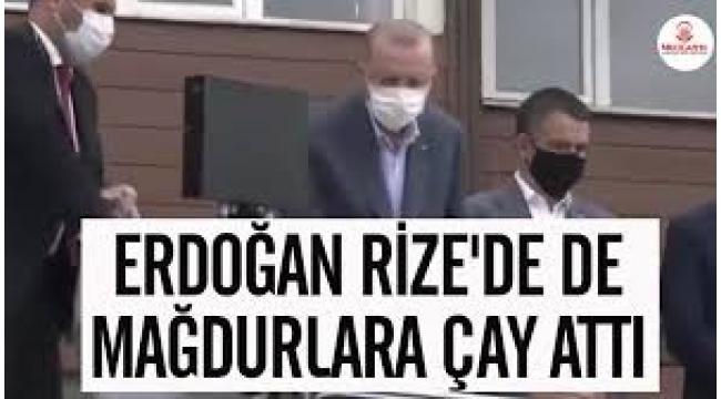 Erdoğan'ın sel felaketinin yaşandığı Rize'de vatandaşlara çay dağıtmasına tepki yağdı